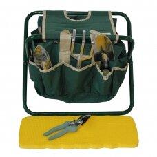Rinkinys sodininko įrankių su kėdute